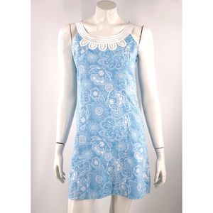 Ann Taylor Loft Sheath Dress 4 Petite Blue White